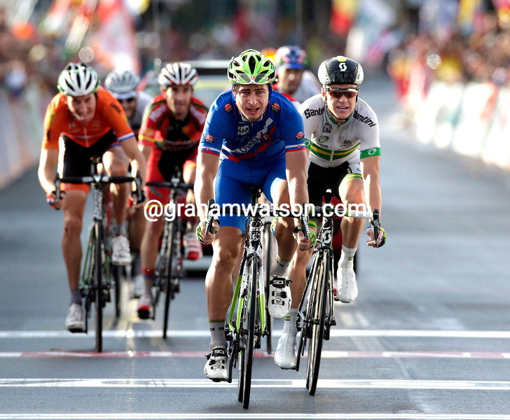 Peter Sagan finishes the 2013 mens road race World Championship