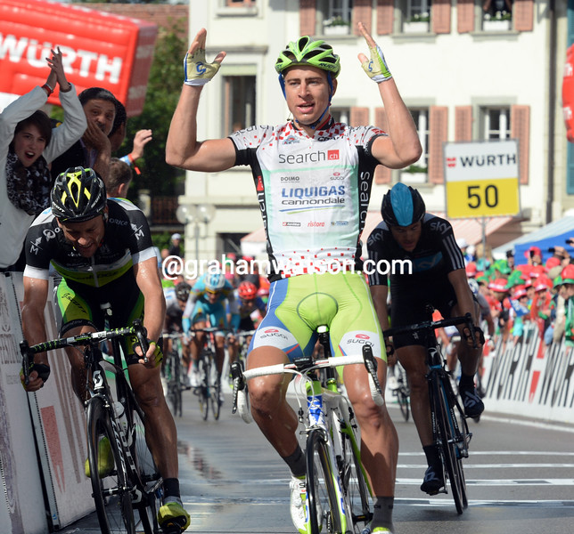 Peter Sagan wins stage three of the 2012 Tour de Suisse
