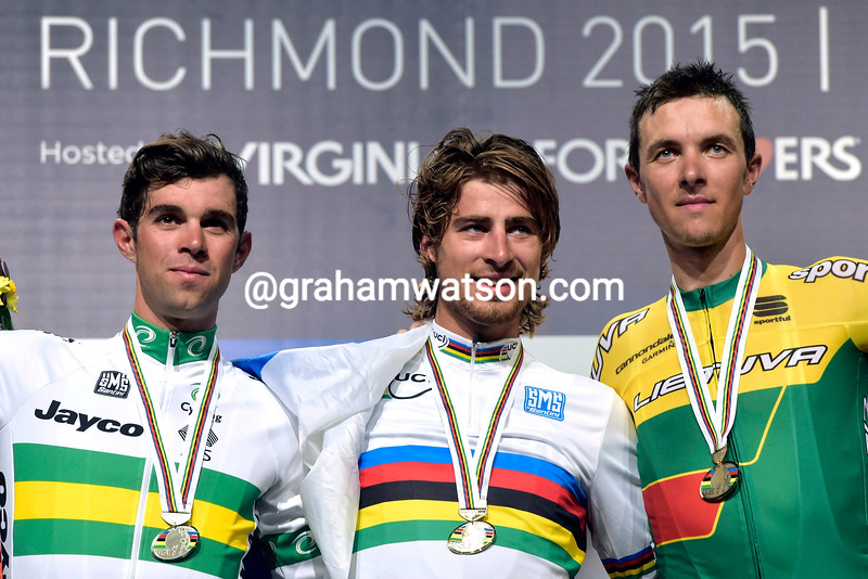 Michael Matthews (Australia), Peter Sagan (Slovakia) and Raumnas Navardauskas (Lithuania ) on the podium for the Elite Mens Road Race at the 2015 UCI World Championships