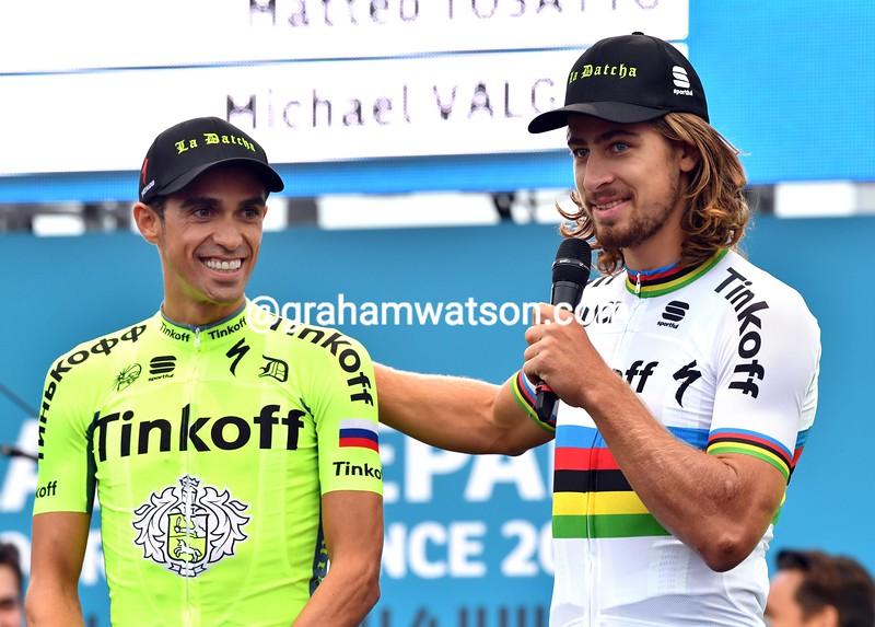 Peter Sagan and Alberto Contador at the 2016 Tour de France