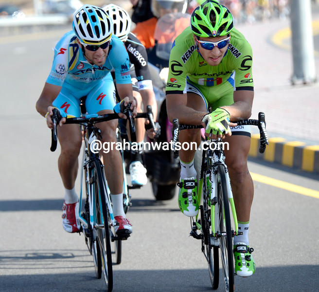 Peter Sagan and Vincenzo Nibali escape on stage four of the 2014 Tour of Oman