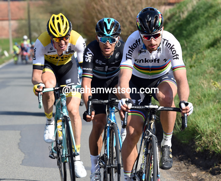Peter Sagan escapes in the 2016 Tour of Flanders