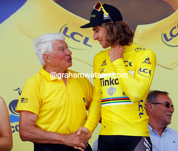 Peter Sagan and Raymond Poulidor on stage 4 of the 2016 Tour de France