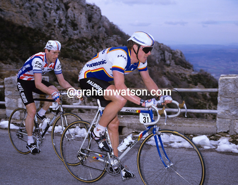 Phil Anderson and Sean Kelly at the 1985 Paris-Nice