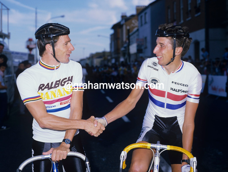 Paul Sherwen and Tim Harris in 1986