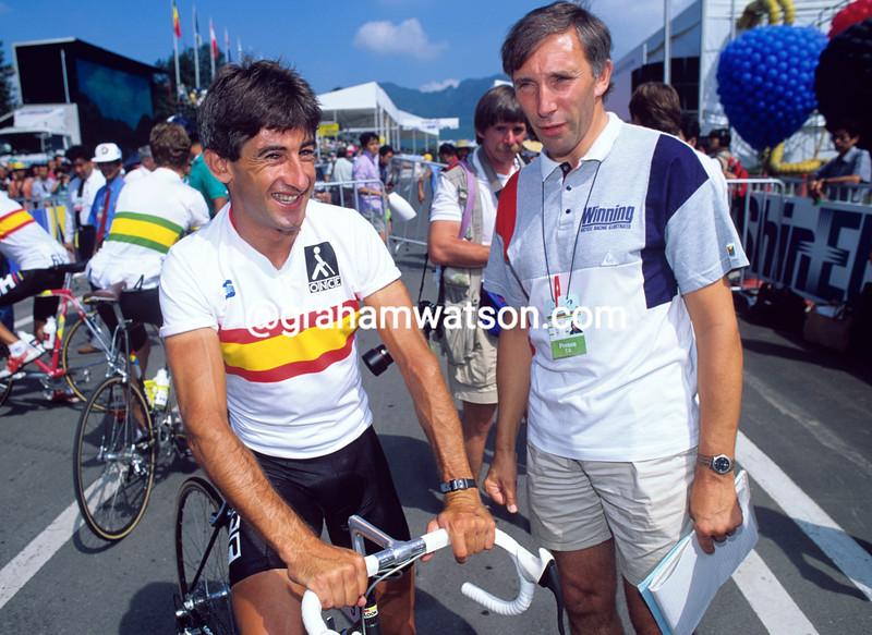 Phil Liggett and Marino Lejarreta at the 1990 World Chamnpionships