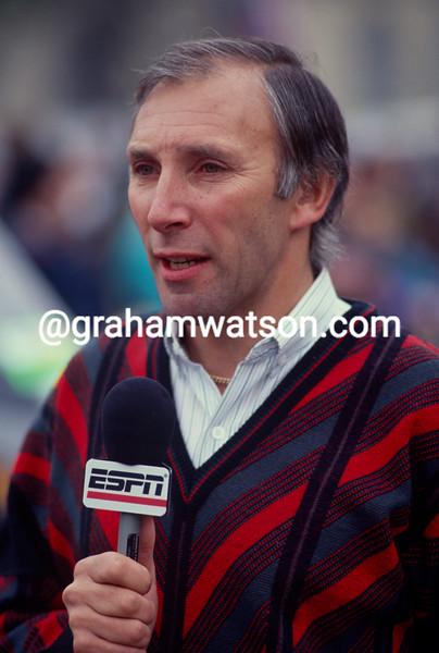 Phil Liggett at the Paris-Roubaix in 1997