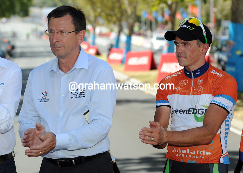 Paul Sherwen and Simon Gerrans on stage six of the 2012 Tour Down Under