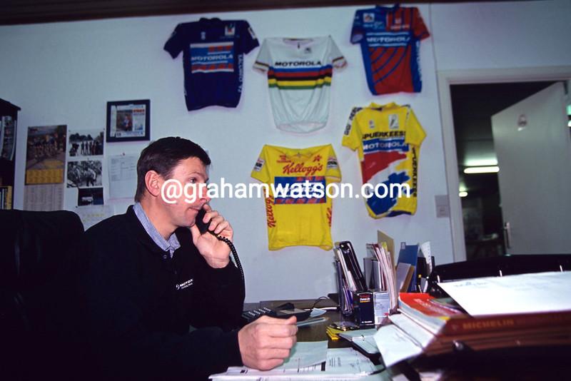 PAUL SHERWEN AT WORK IN THE MOTOROLA TEAM HEADQUARTERS IN 1992