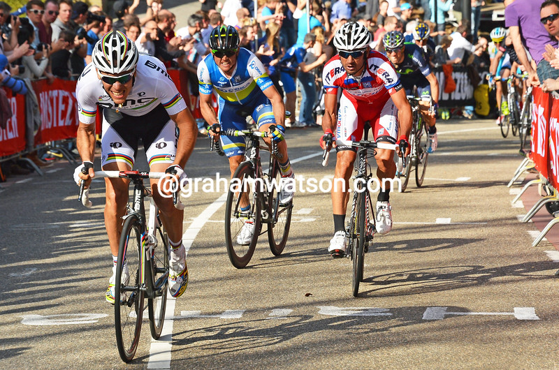 Phiippe Gilbert attacks in the 2013 Amstel Gold Race