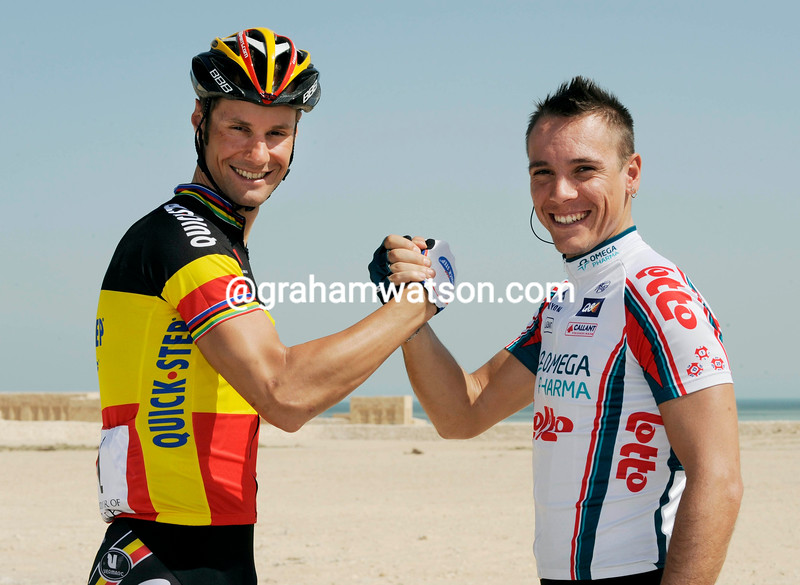 TOM BOONEN AND PHILIPPE GILBERT BEFORE STAGE FIVE OF THE 2010 TOUR OF QATAR