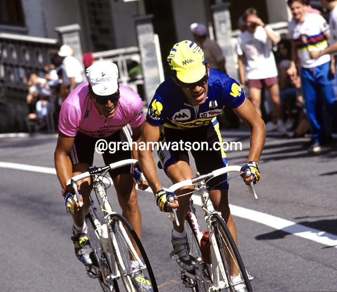 PIOTR UGRUMOV AND MIGUEL INDURAIN IN THE 1993 GIRO D'ITALIA