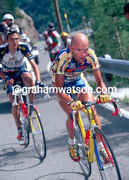 Marco Pantani escapes with Richard Virenque in the 1997 Tour de France