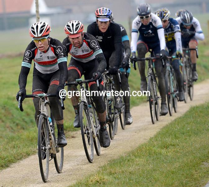 Tony Gallopin and Stijn Devolder lead an escape in the 2013 Dwars Door Vlaanderen