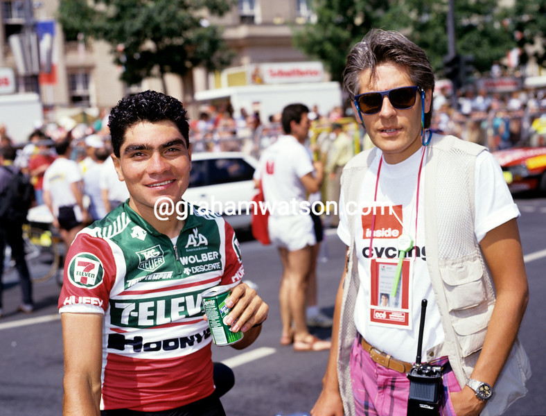 Raul Alcala with Luis Viggio in the 1987 Tour de France