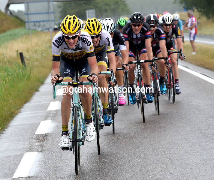 Robert Gesink on stage two of the 2015 Tour de France