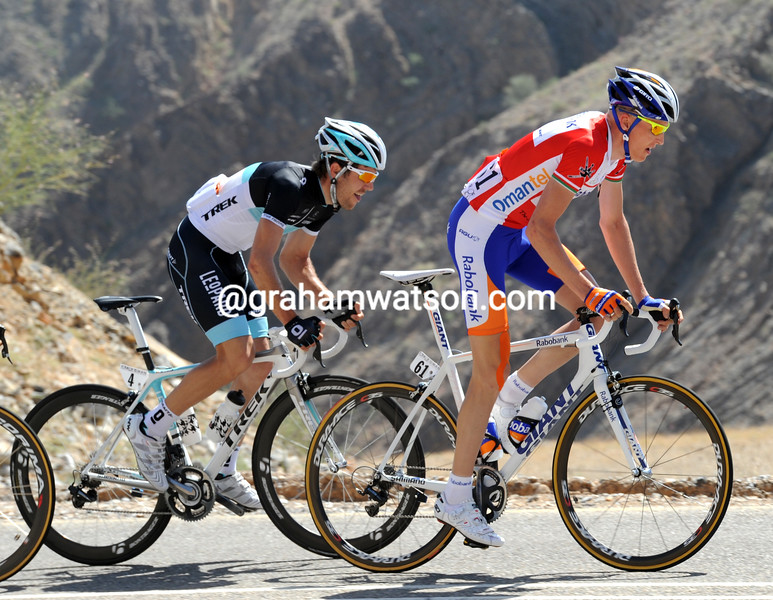 ROBERT GESINK AND MAXIME MONFORT ON STAGE SIX OF THE 2011 TOUR OF OMAN