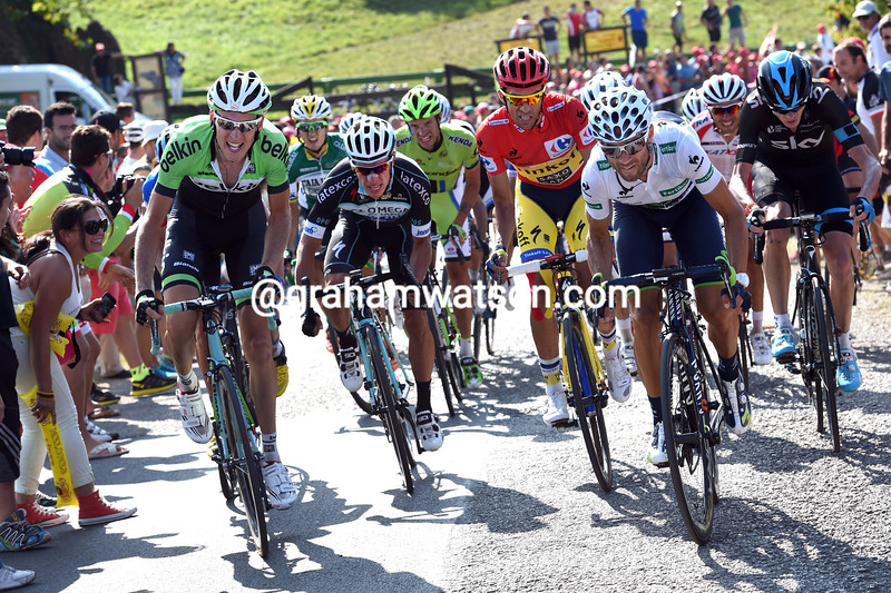 Alejandro Valverde with Alberto Contador on stage thirteen of the 2014 Tour of Spain