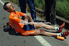 ROBERTO LAISEKA LIES INJURED AFTER A CRASH ON STAGE TWELVE OF THE GIRO D'ITALIA