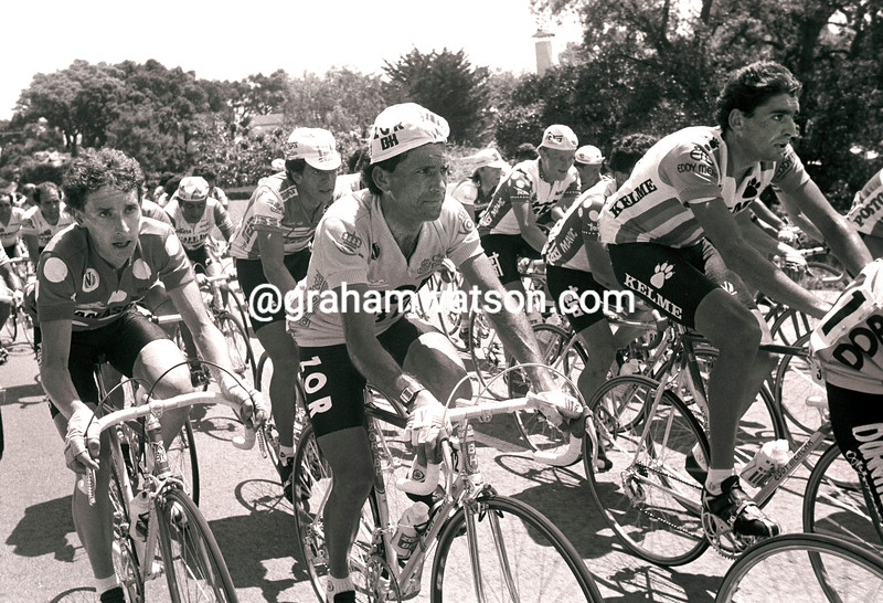 ROBERT MILLAR, ALVARO PINO AND SEAN KELLY IN THE 1986 TOUR OF SPAIN
