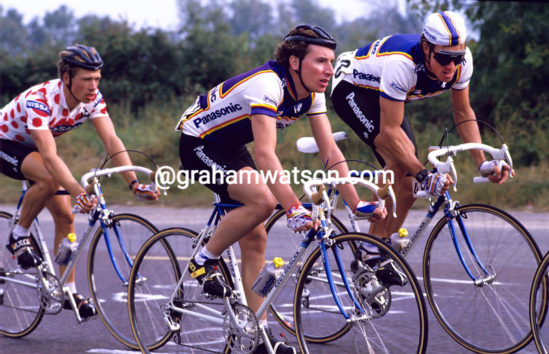 Robert Millar with Phil Anderson in the 1986 Nissan Classic