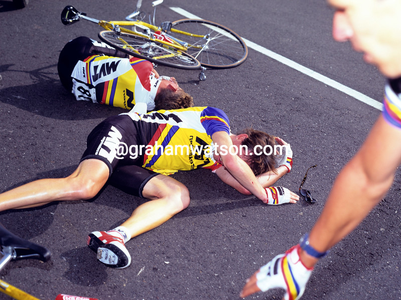 Robert Millar has crashed in the 1994 Vuelta España