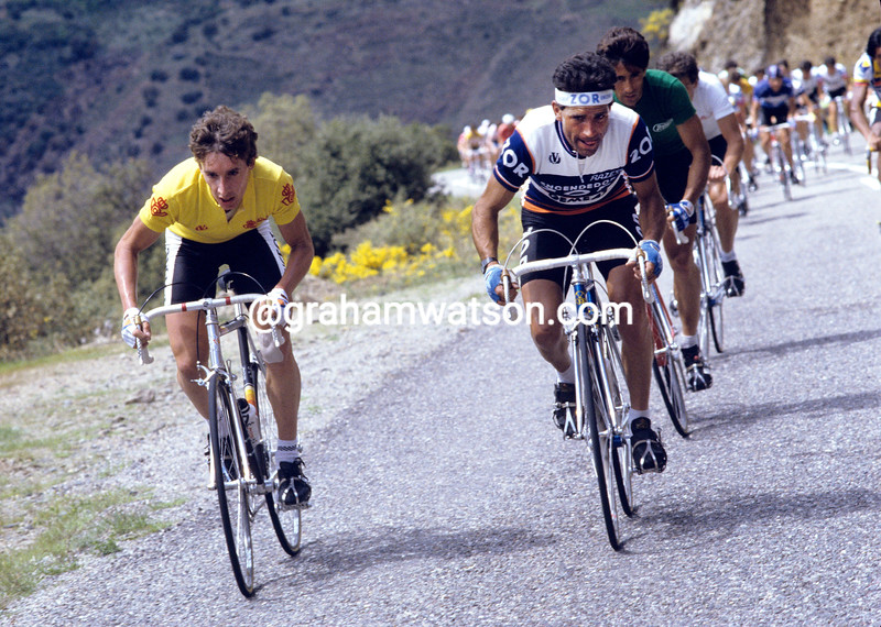 Robert Millar leads Alvaro Pino in the 1985 Vuelta a España