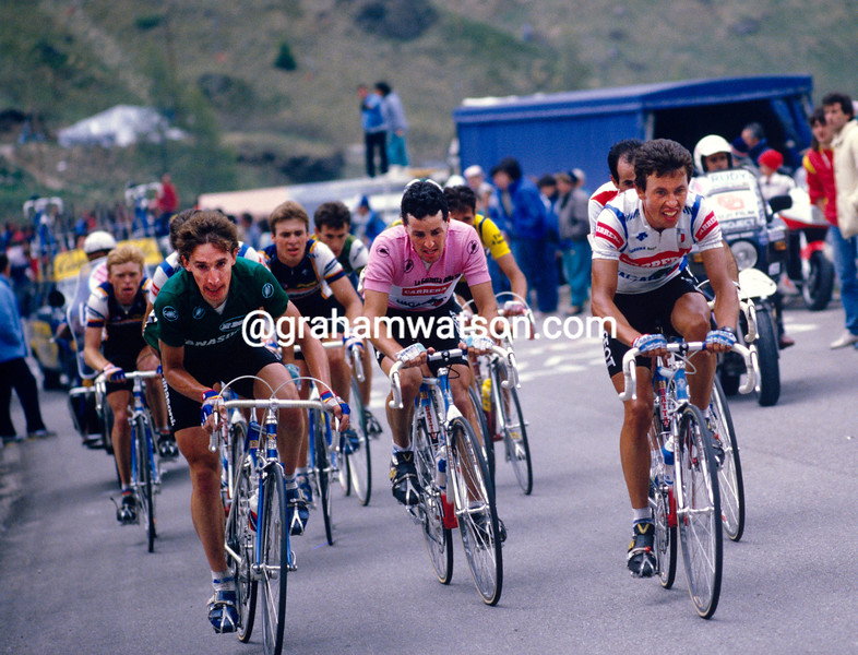 Robert Millar, Stephen Roche and Eddy Schepers on a stage of the 1987 Giro d'Italia