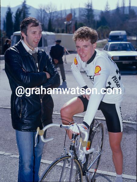 Phil Liggett and Robert Millar at the 1984 Paris-Nice