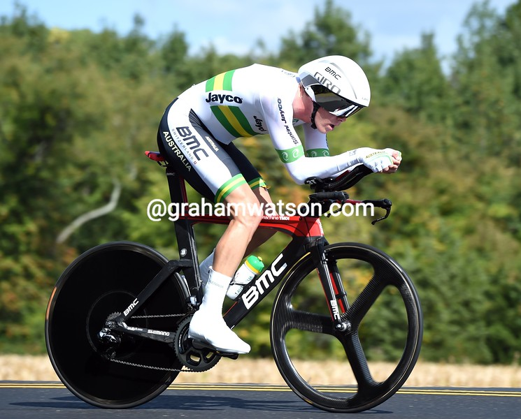 Rohan Dennis in action during the 2015 Elite Mens TT World Championships