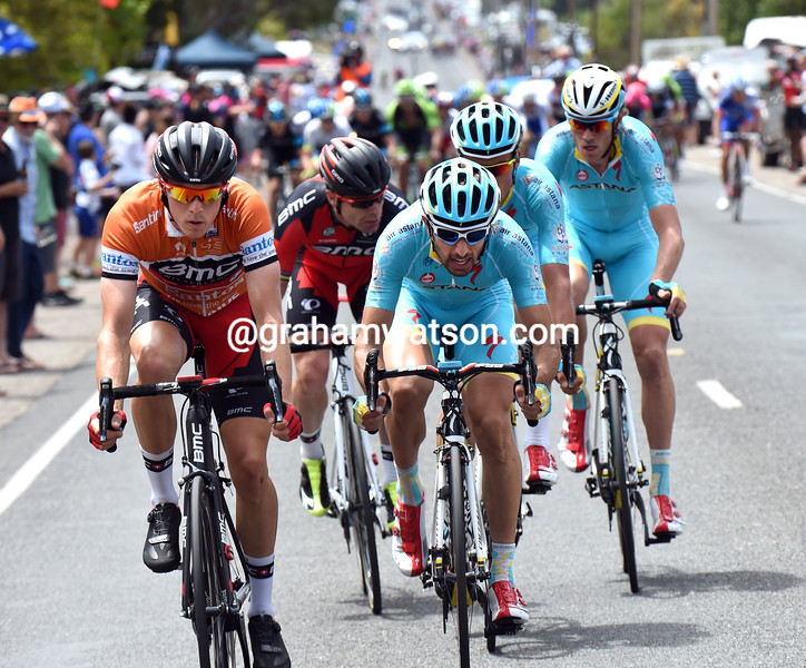 Rohan Dennis leads an escape on stage five of the 2015 Tour Down Under