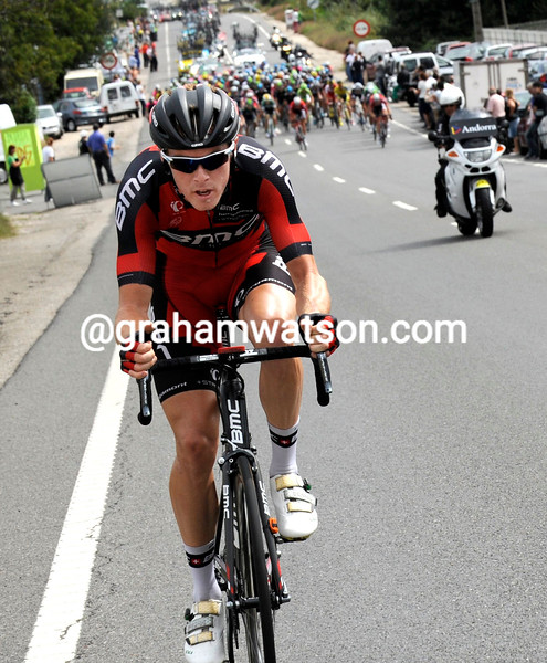 Rohan Dennis escapes on stage nineeen of the 2014 Tour of Spain