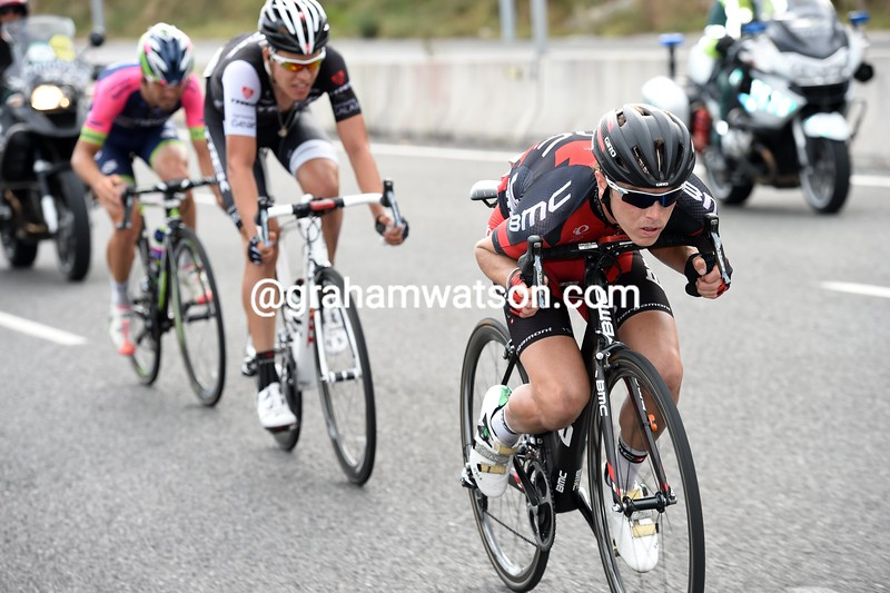 Rohan Dennis leads an escape on stage seventeen of the 2014 Tour of Spain