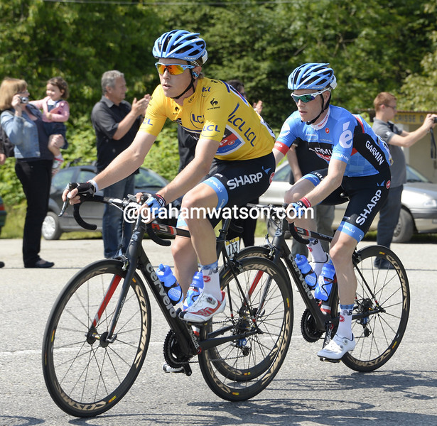 Rohan Dennis and Andrew Talansky on stage five of the 2013 Dauphine-LIbere