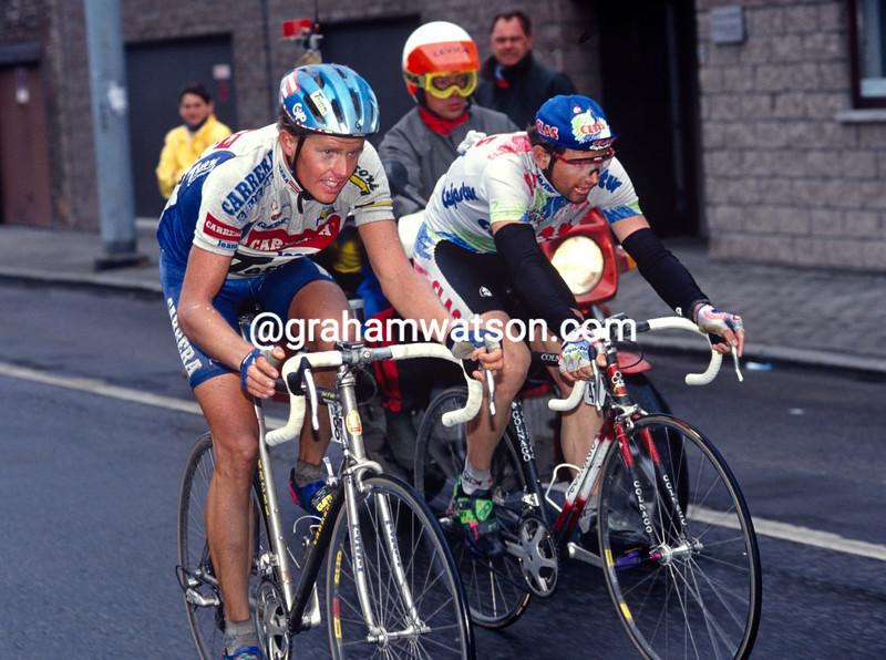 Rolf Sorensen abd Tony Rominger in the 1993 Liege-Bastogne-Liege
