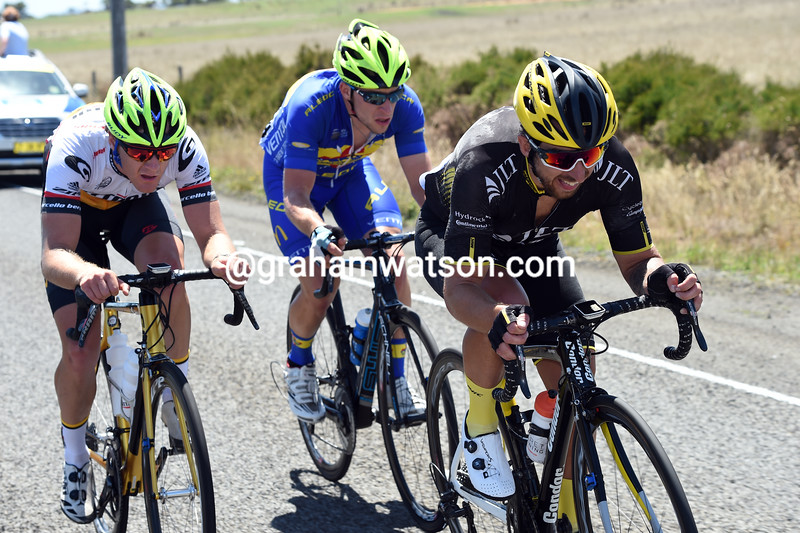 Russell Downing leads an escape on stage three of the 2016 Jayco Herald Sun Tour
