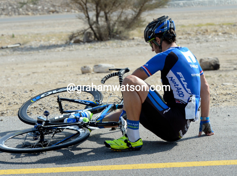 Russell Downing has crashed on stage 3 of the 2013 Tour of Oman