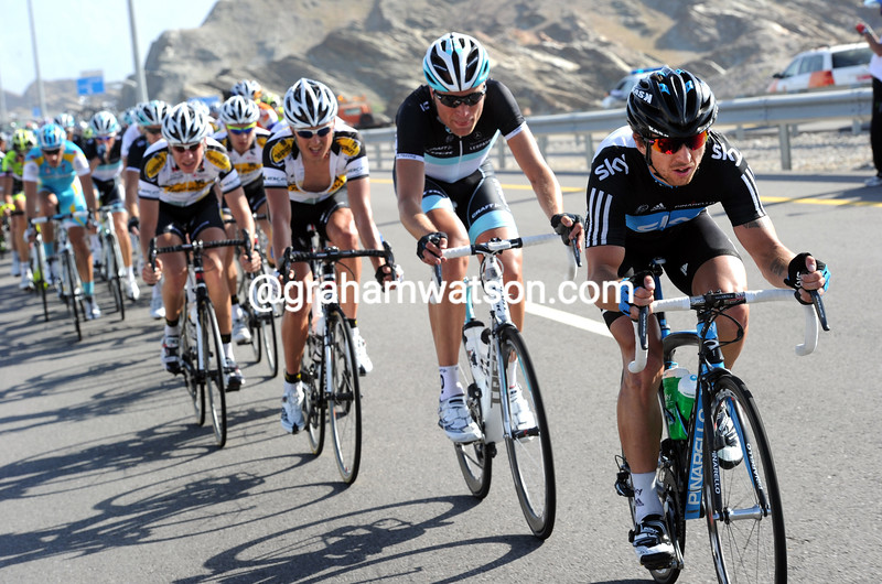 RUSSELL DOWNING LEADS THE PELOTON ON STAGE TWO OF THE 2011 TOUR OF OMAN