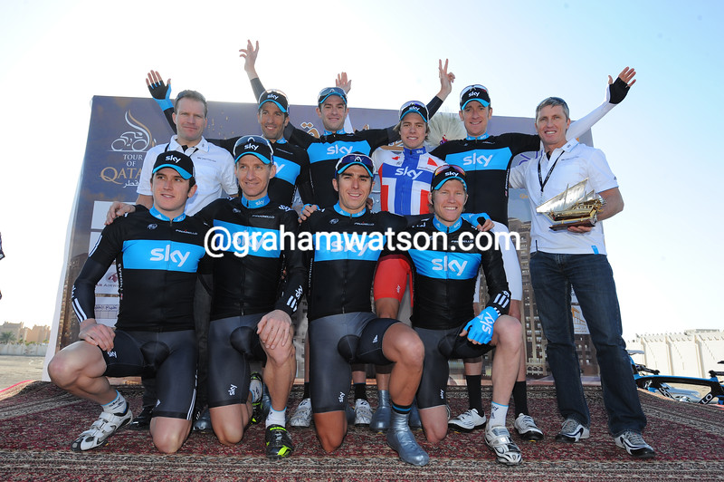 RUSSELL DOWNING WITH TEAM SKY AFTER WINNING STAGE ONE OF THE 2010 TOUR OF QATAR