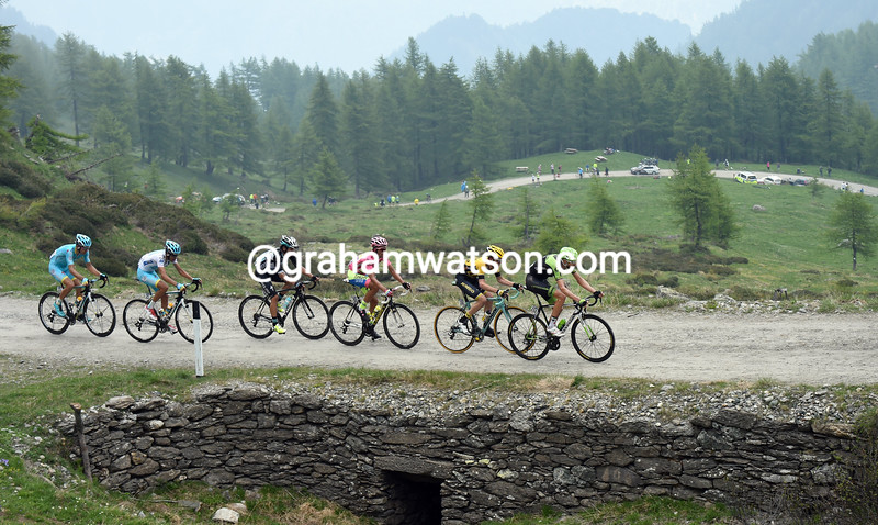 Ryder Hesjedal leads on stage twenty of the 2015 Tour of Italy