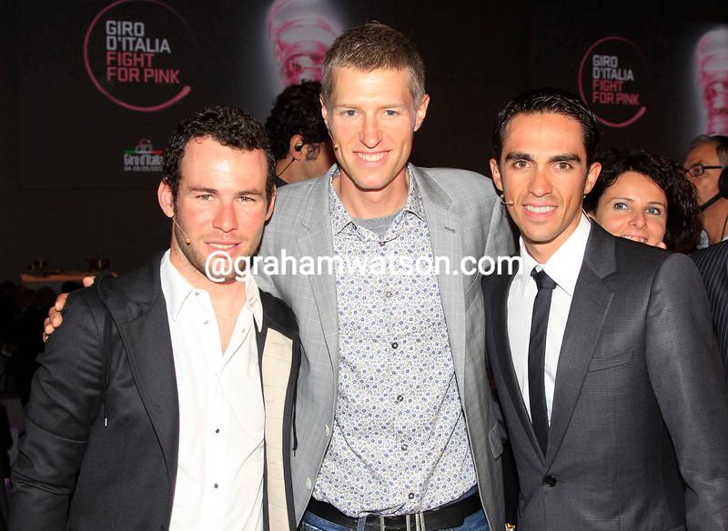 Mark Cavendish, Ryder Hesjedal and Alberto Contador at the presentation of the 2013 Giro d'Italia