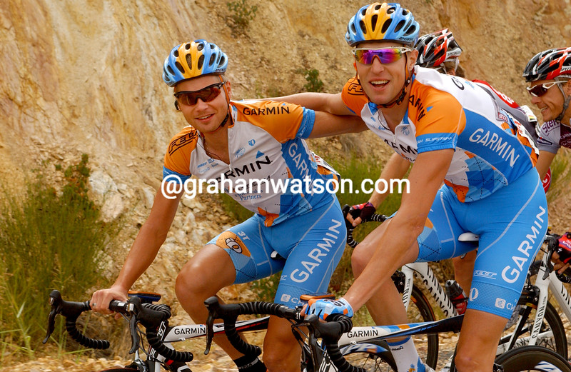 Ryder Hesjedal and Christian Meier on stage eight of the 2009 Tour of Spain