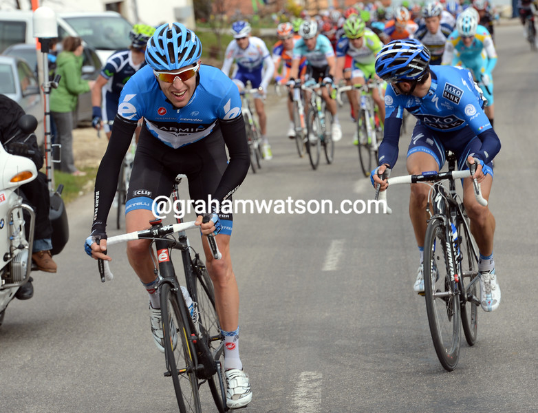 Ryder Hesjedal attacks on stage one of the 2012 Tour de Romandie