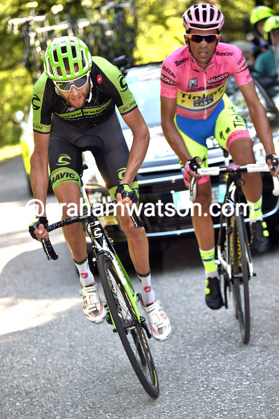 Ryder Hesjedal and Alberto Contador on stage eighteen of the 2015 Tour of Italy