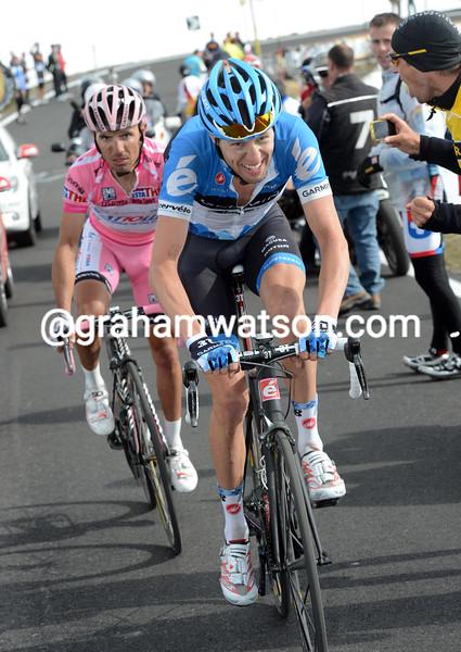 Ryder Hesjedal and Joachim Rodriguez on stage twenty of the 2012 Giro d'Italia