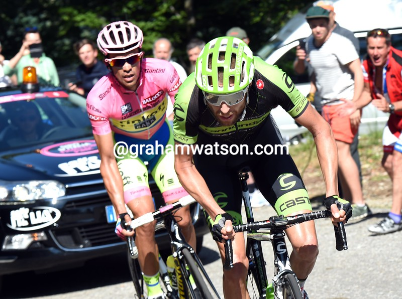 Ryder Hesjedal leads Alberto Contador on stage eighteen of the 2015 Tour of Italy