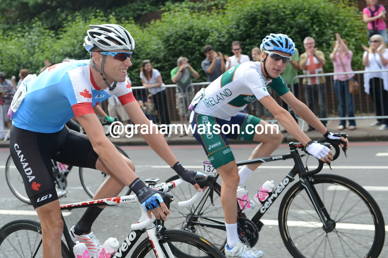 Ryder Hesjedal abd Dan Martin in the Mens Olympic Road Race in 2012