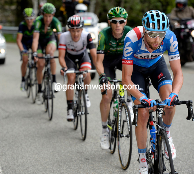 Ryder Hesjedal leads an escape on stage fourteen of the 2014 Giro d'Italia