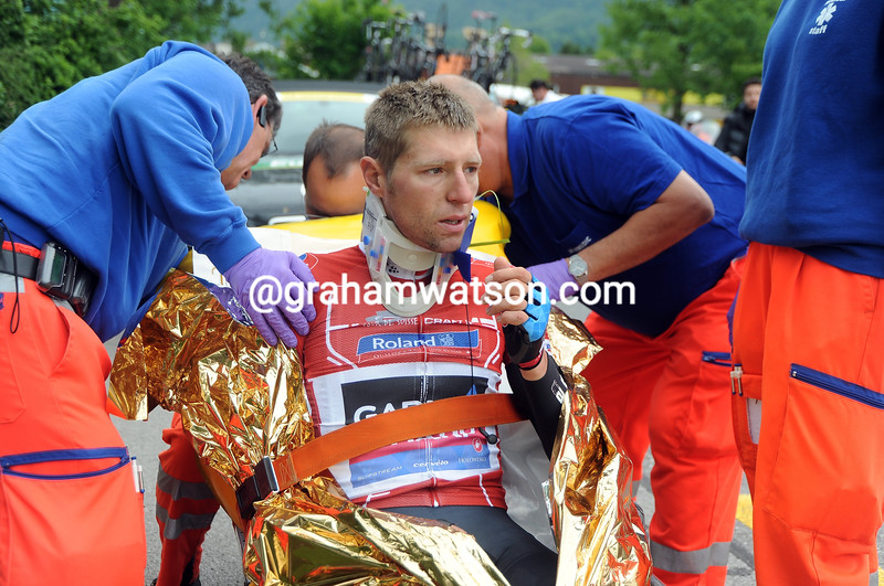 Ryder Hesjedal after a crash on stage three of the 2013 Tour de Suisse