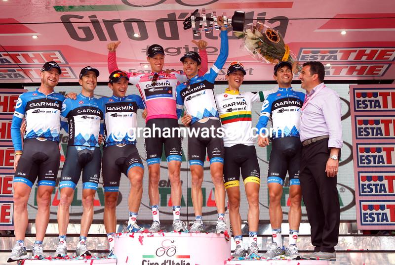 Ryder Hesjedal celebrates with his Team Garmin on stage twenty one of the 2012 Giro d'Italia